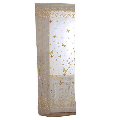 VORCOOL Rideaux Rideaux Voile Papillon Transparent écharpe Rideau décoratif pour Chambre à Coucher Salon – Taille 100 X 200 Cm (Jaune et Vert)