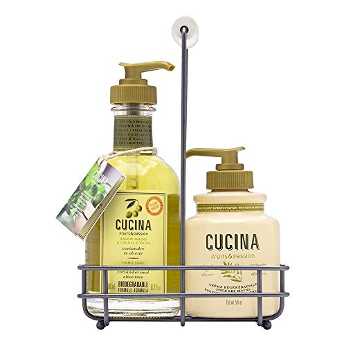 Fruits & Passion [Cucina] - Coriander & Olive Tree Hand Care Duo Caddy Gift Set | Liquid Hand Soap Wash (5.1 oz) with Hand Cream Lotion (6.8 oz)