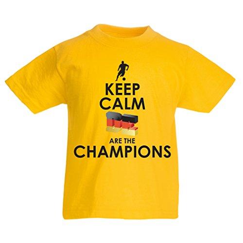 Camiseta Niños/Niñas Los alemanes Son los campeones - Campeonato de Rusia 2018, Copa Mundial de fútbol, Equipo de la Camiseta del Ventilador de Alemania (1-2 Years Amarillo Multicolor)