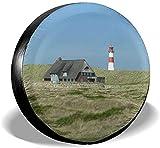 PageHar Reserveradabdeckung, Polyester-Radkappen, wetterfeste Reifenschutzfolie, Nordsee Sylt Lighthouse Dunes Island...