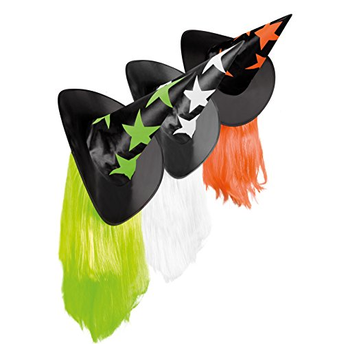 Aptafêtes - CF000216 - Chapeau Sorcière Etoiles avec Cheveux - Taille Unique