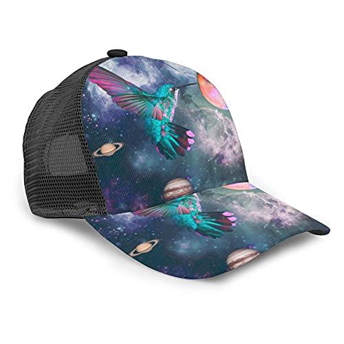ZORIN Gorras de béisbol de malla ajustables 3D Impreso Trucker Hat Galaxy Colibrí Tierra Luna Deportes Snapback para Hombres Mujeres Negro