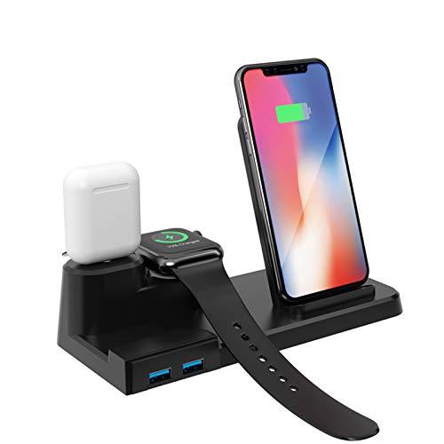 LTLJX Cargador inalámbrico de Carga QI Rápida 3 en 1 para iPhone 12, AirPods, Apple Watch, Puerto de Carga USB, 10W