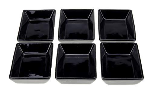 Urban Lifestyle - Set di 6 ciotole rettangolari per salse, in porcellana, colore: nero