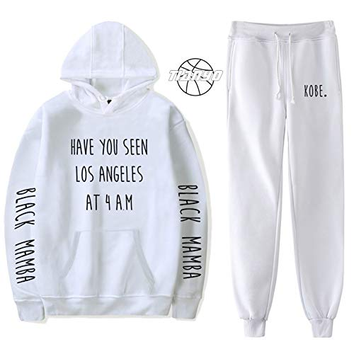 TIANYO Conjunto de sudadera con capucha para los amantes con capucha, color negro Mamba Kobe baloncesto sudadera+pantalones largos de 2 piezas, conjuntos de trajes de entrenamiento cálido blanco-L
