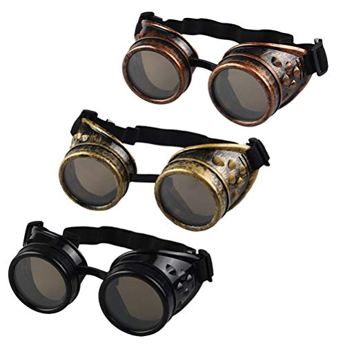 TUANTUAN 3 PCS Vintage Victorian Steampunk Goggles Glasses Retro Sunglasses Cyber Goggles Punk Gothic Glasses for Halloween Cosplay Costumes