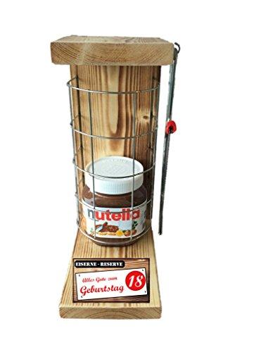 """""""Alles Gute zum 18 Geburtstag"""" Eiserne Reserve mit Nutella 450g Glas incl. Säge zum zersägen des Gitter - Geschenk für Männer- Geschenk für Frauen - ."""