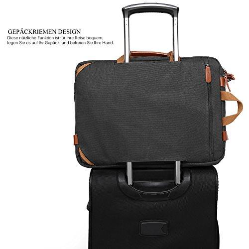 CoolBELL umwandelbar Aktentasche Messenger Bag Umhängetasche 17.3 Inch Laptop Tasche Business Backpack Multifunktions Reise Rucksack Notebook Schultertasche Passend für Herren/Damen(Canvas Schwarz)