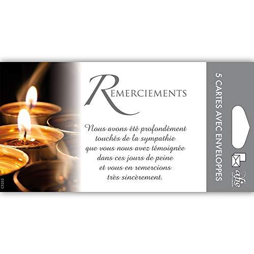 Afie C5252 Pochette de 5 Cartes Remerciements Condoléances Nos pensées affectueuses vous Soutiennent dans l'épreuve Feuilles Décès Deuil Fabriqué en France