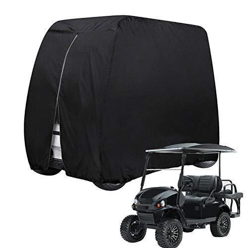 KISEER 4 Passenger 400D Waterproof Golf Cart Cover fits EZ GO Club Car Yamaha, Sunproof Dustproof (Black)