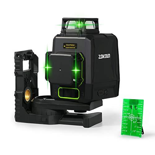Zokoun 3D Laser Level Grün AK360G mit Pulsmodus, umschaltbare 3X 360 Cross Line 12Lines Selbstnivellierung mit wiederaufladbarem USB-Akku, 2X360 vertikale + 1x360 horizontale Lines