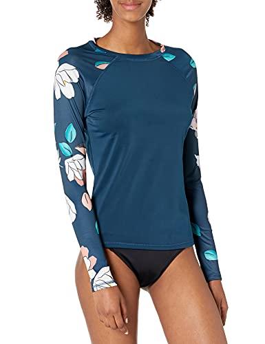 Kanu Surf Women's Keri Long-Sleeve UPF 50+ Rashguard Rash Guard Shirt, Darren Navy, Medium