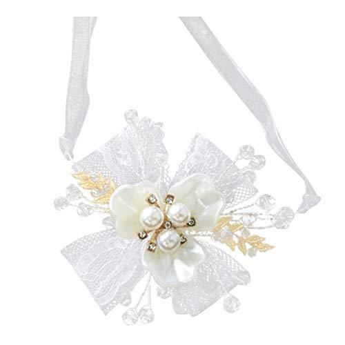 Pulseira de casamento KESYOO Corsage para madrinha de casamento, dama de honra, flor de mão, flores, pérola, strass, pulseira, pulseira para festa de casamento na praia (branca)