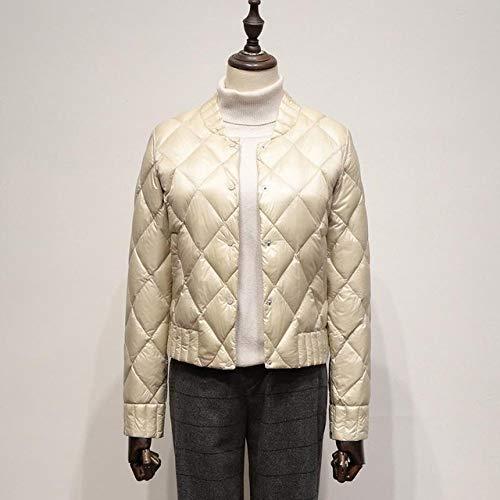 KGLOPYE Daunenmantel Ultraleichte weiße Daunenjacke für Herbst und Winter Damen Größe 3XL Kurze Jacke Schmale warme Schwarze Daunenjacke, Beige, XXXL