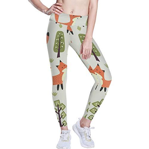 Linomo Yoga-Hose für Frauen mit Hoher Taille, Süß Tier Fuchs Trainieren Laufen Hose Yoga Leggings für Frauen