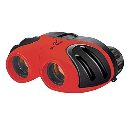 PJKKawesome Binocular para Los Niños, Bolsillo Alta Potencia Los Prismáticos para Observación Aves Play Aire Libre, Naturaleza Explora, Rojo