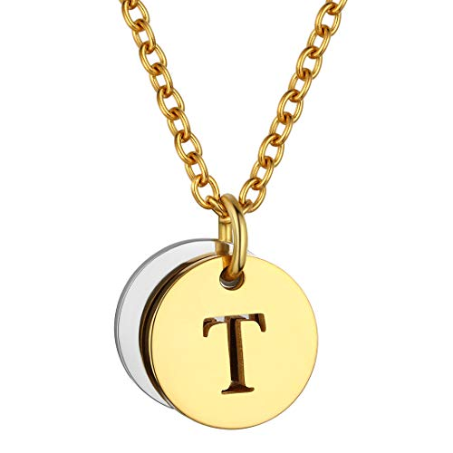 GoldChic Jewelry Moneda Oro baño Colgante Personalizable Placas Inicial T 26 Letras Disponibles Base Inoxidable Fino Collar para Mujer Hombre, Gratis Servicio Grabar