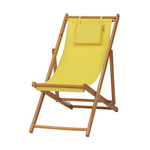 Siena Garden Liegestuhl Faro, 110x58x90cm, Gestell: Hartholz, in light teak, Kissenbezug aus Polyester mit 230g/m² in gelb