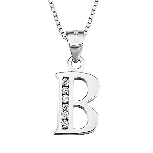 YFN S925 Sterling Silver 26 Letters Alphabet B with Cubic Zirconia Pendant Necklace (Alphabet B)