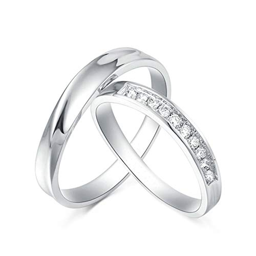 Daesar Platinum Ring Women and Men Couple Promise Rings Set Round with 0.12ct Anniversary Ring Diamond White Gold Ring Women Size O 1/2 & Men Size O 1/2