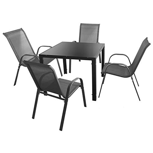 Wohaga 5tlg. Gartengarnitur Tisch 90x90cm Schwarz + 4 Stühle mit Textilenbespannung stapelbar Anthrazit Sitzgruppe Sitzgarnitur Gartenmöbel Balkonmöbel Set