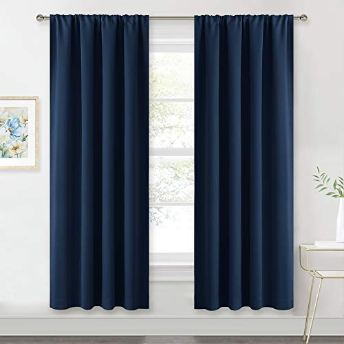 RYB HOME Blackout Curtains Pair - Countryside Portable Drapes with Rod Pocket Hanging Light Block Privacy Wall Panels for Foyer Entryway Bathroom Bedroom, W 42 x L 72 in, Navy Blue, 2 Pcs