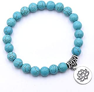 BAOKUANH Bracelet Charm Women Bracelet Natural Stone 8Mm Beads Lotus Yoga Beaded Bracelet For Women Friendship
