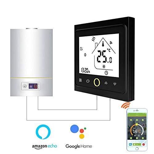 JINSE WiFi Smart thermostaat temperatuurregelaar voor water/elektrische vloerverwarming water/gasketel Large zwart