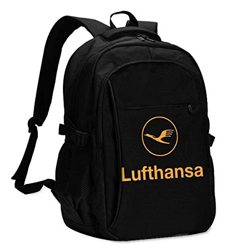 JSDF USB-Rucksack Lufthansa Airline Symbol Logo Schule Business Durable16 Zoll Laptops Tasche Ladeanschluss Geschenke Männer Frauen Student
