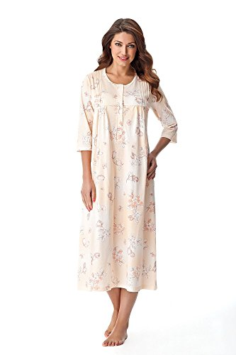 DOROTA Elegantes, langes Damen-Baumwoll-Nachthemd / Sleepshirt oder Morgenmantel, Made in EU, Sleepshirt-lachs, Gr. XXL (44)