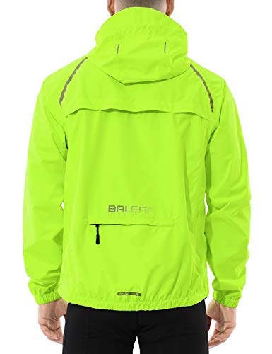 BALEAF Men's Cycling Running Jacket Waterproof Reflective Lightweight Windbreaker Windproof Bike Jacket Hooded Packable Fluorescent Yellow Size XL