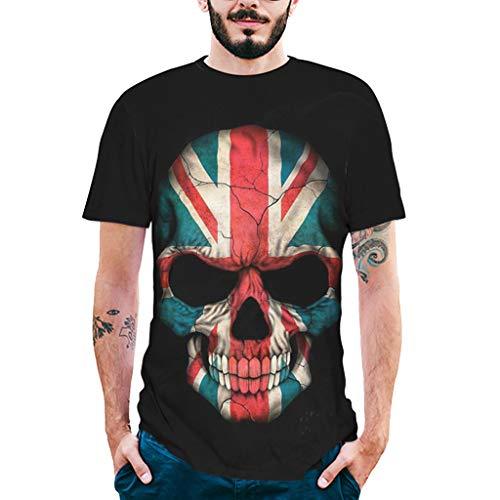MEIbax Camisetas para Hombre de algodón de Manga Corta con Personalidad Calavera Pintada Impresión Estampado Cuello Redondo Causal Talla Grande Oversize Camisa Tops Deportiva T-Shirt (XL, Negro A)
