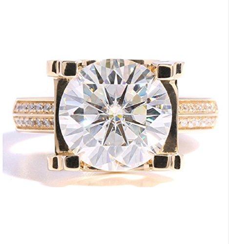GOWE 5ct Carat Lab Grown Moissanite Wedding Engagement Rings Solid 14K Yellow Gold Lab Diamonds