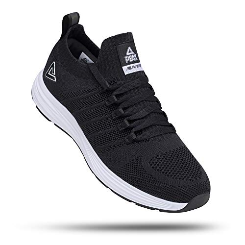 PEAK Womens Lightweight Walking Shoes Comfortable Slip On Sneakers for Running, Tennis, Home, Gym, Casual Workout Black