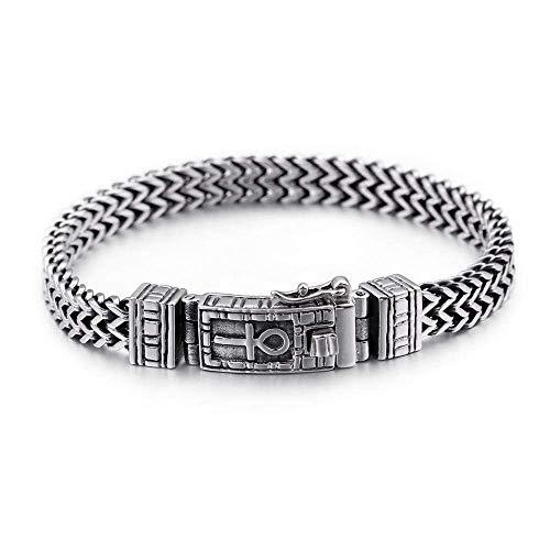 Men's Egyptian Ankh Symbol of Life Bracelet, Stainless Steel Mesh Chain, Vintage Bangle for Men & Women, Fashion Bracelets, 18 cm