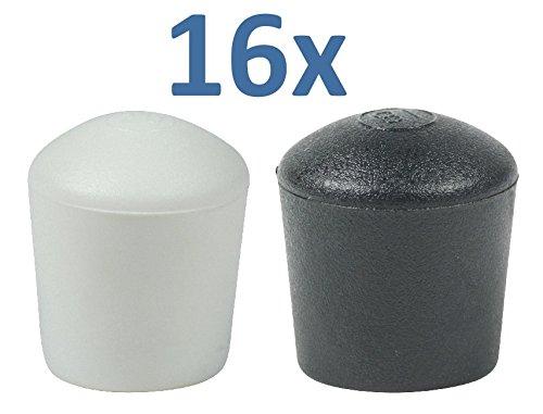 Lifeswonderful® - Gewölbte Schutzkappen für Möbel - viele verschiedene Farben und Größen - 16 Stück - 20 mm - Schwarz