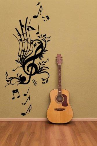 """Floral Key Musique–Grands stickers muraux Notes de musique, noir, Medium: 45cm x 105cm / 18"""" x 41"""""""