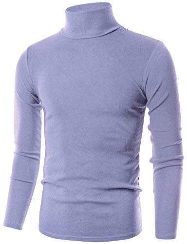 OHOO Mens Slim Fit Flice Long Sleeve Pullover Flice Turtleneck /DCT005-LAVENDER-S
