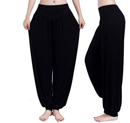 Hippolo, pantaloni da odalisca, calzoni alla zuava, pantaloni a sbuffo da donna, comodi per lo yoga nero nero L