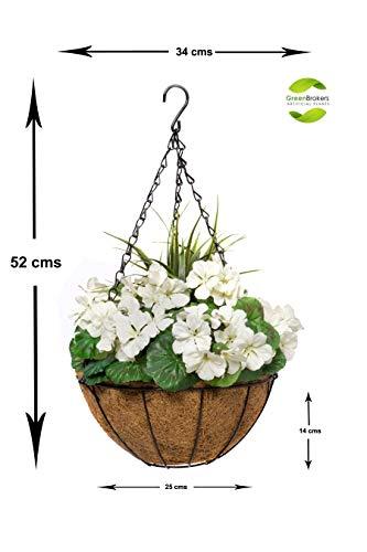 GreenBrokers Cestas Colgantes de Fibra de Coco (2 Unidades, 25 cm), Color Blanco