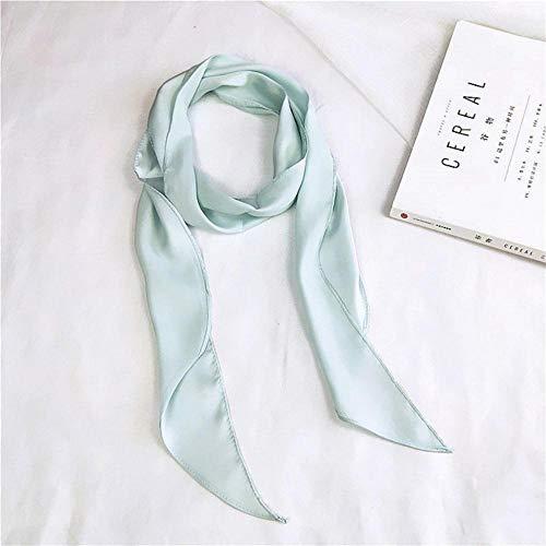 SJYM Bufanda de Seda de Cinta de Moda para Mujer Hermoso diseño sólido Niñas Pañuelo para el Cabello Envolturas Bufandas de Cuello pequeño, Verde Claro