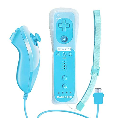 Wii Remote, WADEO Built in Motion Plus Remote and Nunchuck Controller+Case for Nintendo Wii&Wii U (Blue)