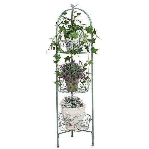 Metall Blumenständer grün 110 cm - Garten Pflanztreppe Antik Blumen Säule Regal
