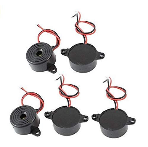Lot de 5 buzzers électroniques CC 3-24 V 85 dB Noir 23 x 12 mm