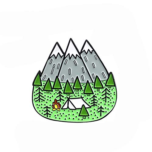 wangk Montañas Wood Jungle Brooch Peak Nature Forest Camping Aventura Amateur Pin Insignia Sombrero Bolso Accesorios joyería de Moda