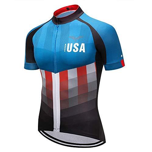Moxilyn Men USA Cycling Jersey Full Zip Riding Clothing Mountain Bike Tops Stars and Stripes - Bike Shirts