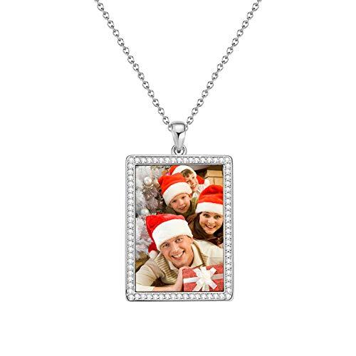 Collar con foto personalizado Collar con etiqueta de perro Joyas personalizadas Collar tallado Collar con colgante para esposo(Chapado en oro rosa de 18 k 24)