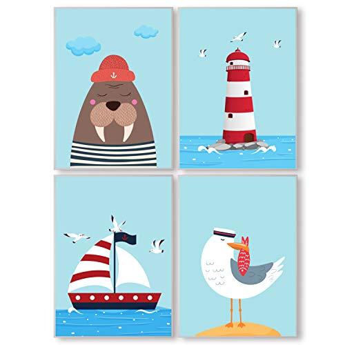 Pandawal Kinderzimmer Deko Bilder für Junge und Mädchen Maritim Segeln, Möwen 4er Poster Set (S6) Kinderposter im DIN a4 Format