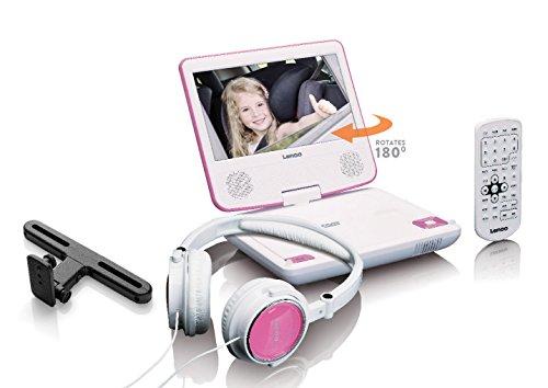 Lenco Tragbarer DVD-Player DVP-710 - 7 Zoll Tragbarer DVD Player - Li-Ionen Akku 1000mAh - Kopfhörer - 12 V Kfz Adapter - Kopfstützenbefestigung - pink