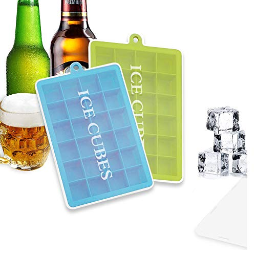 BSET BUY Eiswürfelform Silikon Eiswürfel Form Eiswürfelbehälter Eiswürfelbereiter mit Deckel Ice Tray Ice Cube 24 Fächer, Kühl Aufbewahren BPA frei 2 Stück